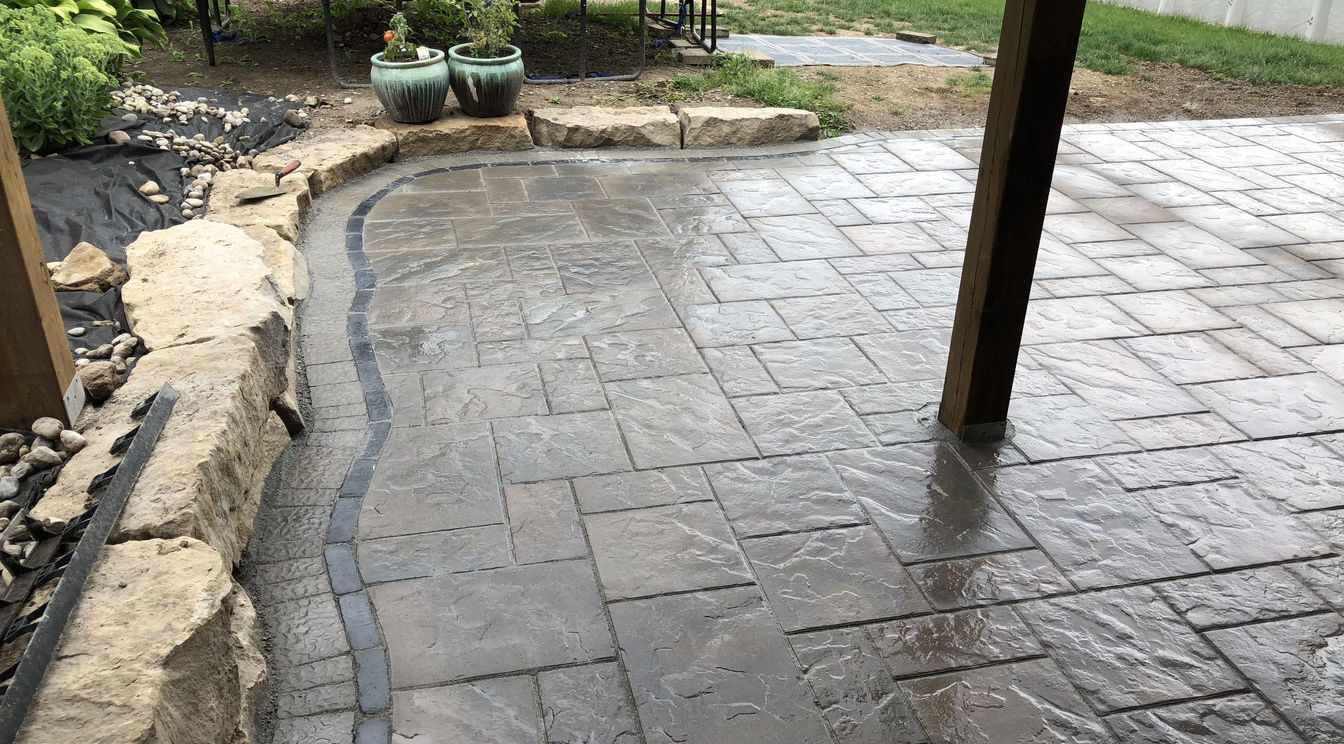 Paver Patio with Custom Border a project O'Connor Stone & Landscape, your local contractor