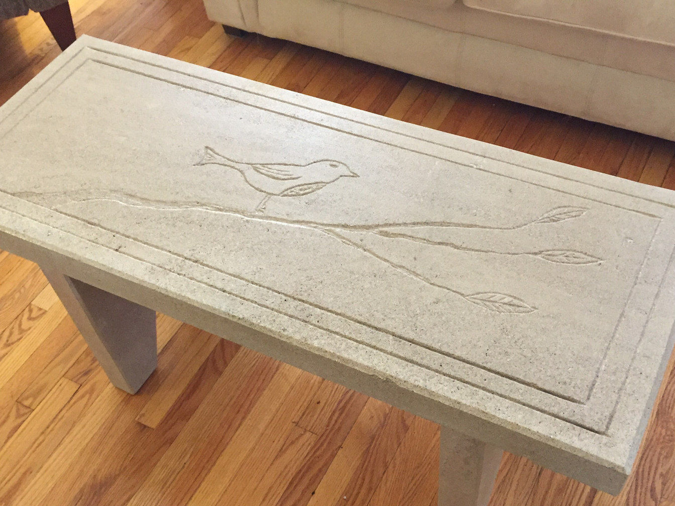 Custom Carved Stone Table by London Ontario based O'Connor Stone & Landscape
