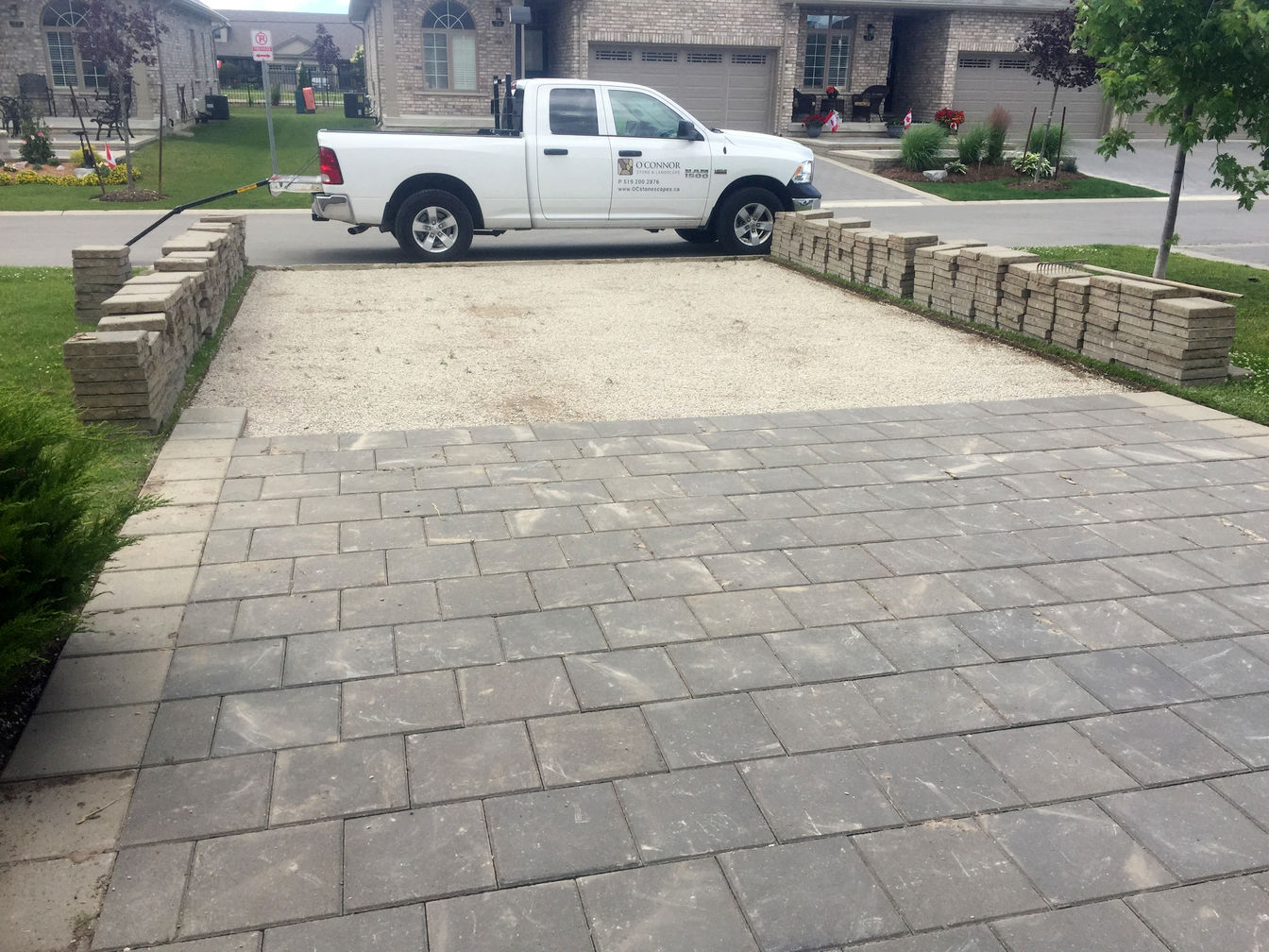 Interlocking Brick Paver Relay / Driveway Paver Relay in London Ontario region, by O'Connor Stone & Landscape. A landscape / hardscape contractor.