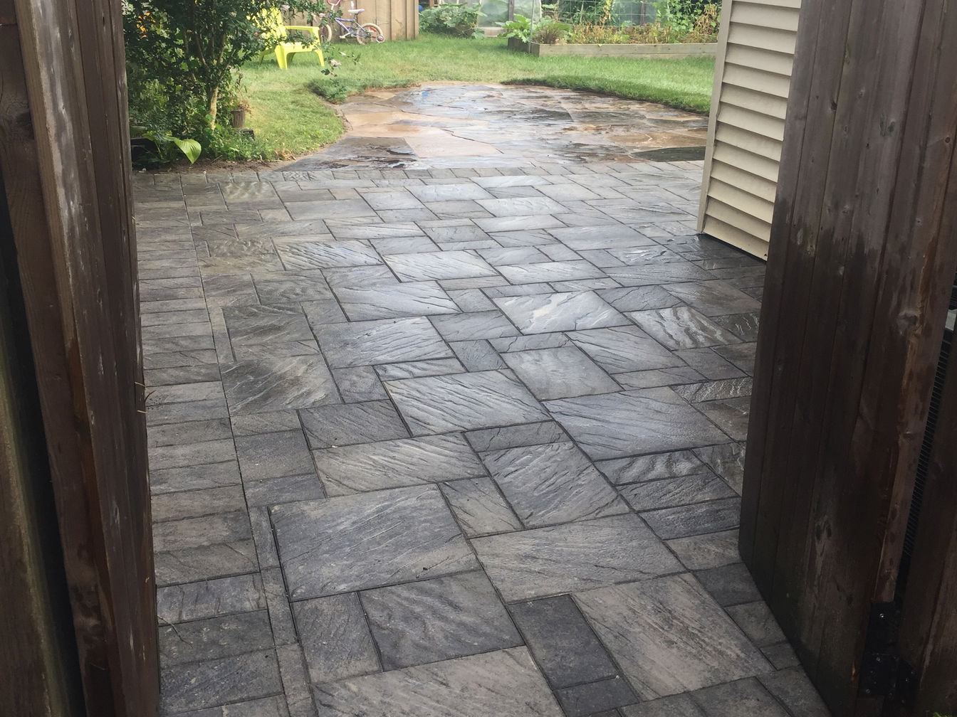 Natural Flagstone Patio and Interlocking Paver Patio w. Walkway, by O'Connor Stone & Landscape, a London Ontario based Landscape and Hardscape Contractor