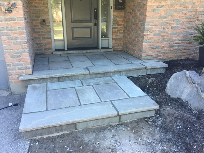 Mortared square cut flagstone, a stone masonry project in London Ontario region by O'Connor Stone & Landscape, your local contactor.